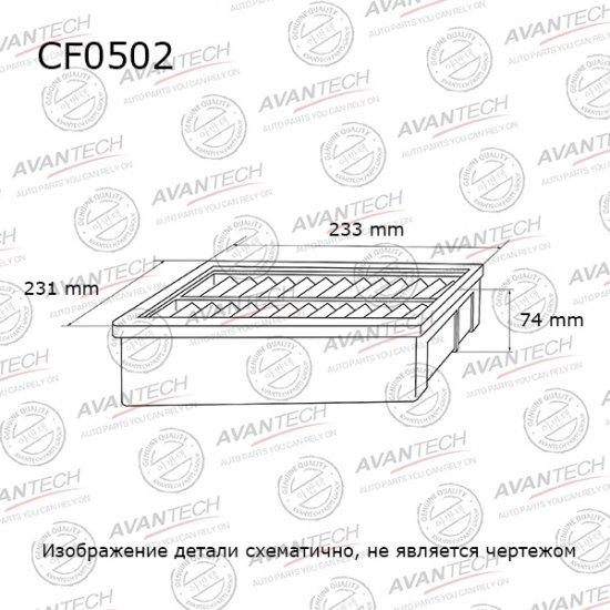 ФИЛЬТР САЛОННЫЙ AVANTECH 110554 (CF0502)